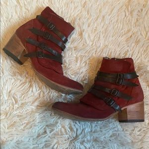 Freebird by Steven wesen red strappy buckle boots